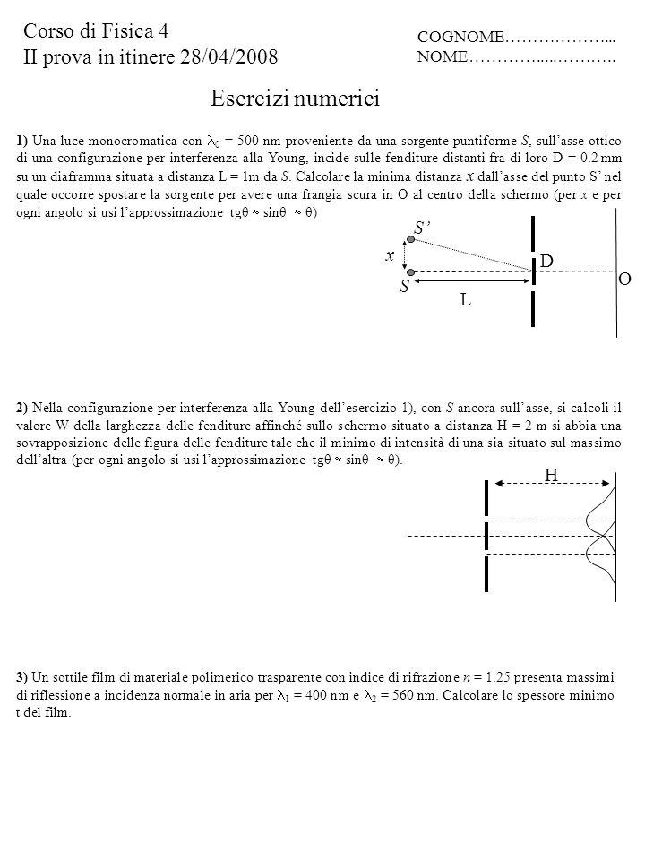 Esercizi numerici Corso di Fisica 4 II prova in itinere 28/04/2008 S'
