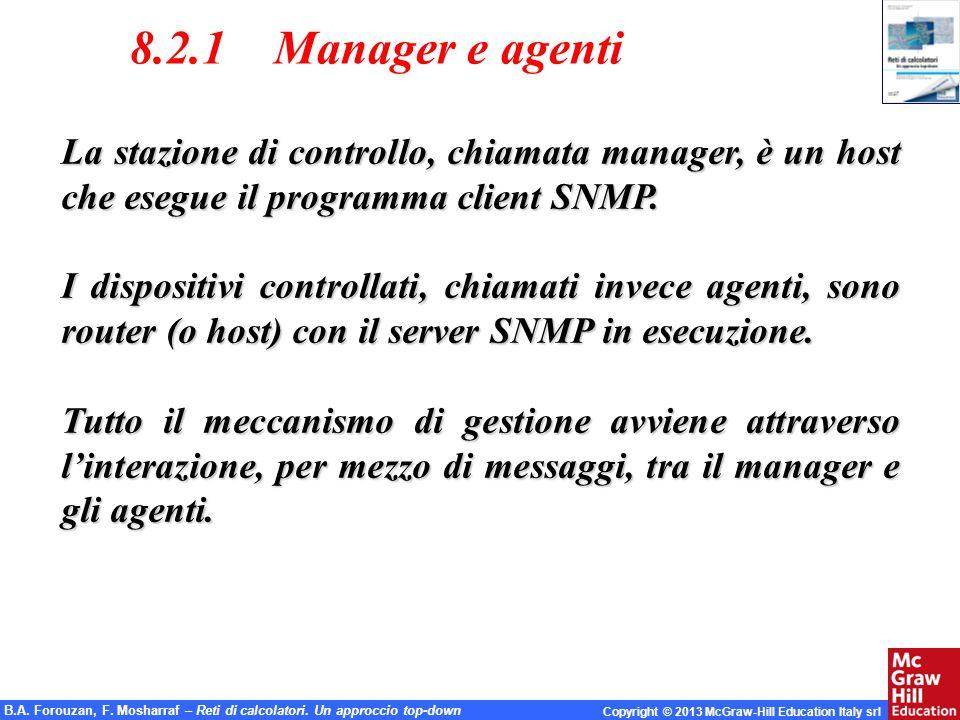 8.2.1 Manager e agenti La stazione di controllo, chiamata manager, è un host che esegue il programma client SNMP.