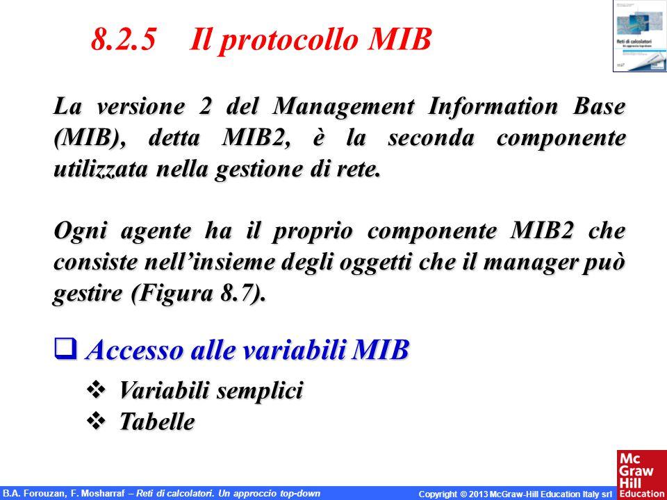 8.2.5 Il protocollo MIB Accesso alle variabili MIB