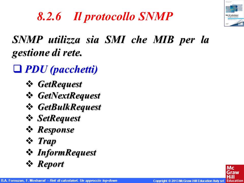 8.2.6 Il protocollo SNMP SNMP utilizza sia SMI che MIB per la gestione di rete. PDU (pacchetti)