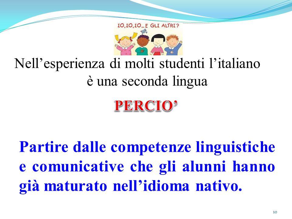 Nell'esperienza di molti studenti l'italiano