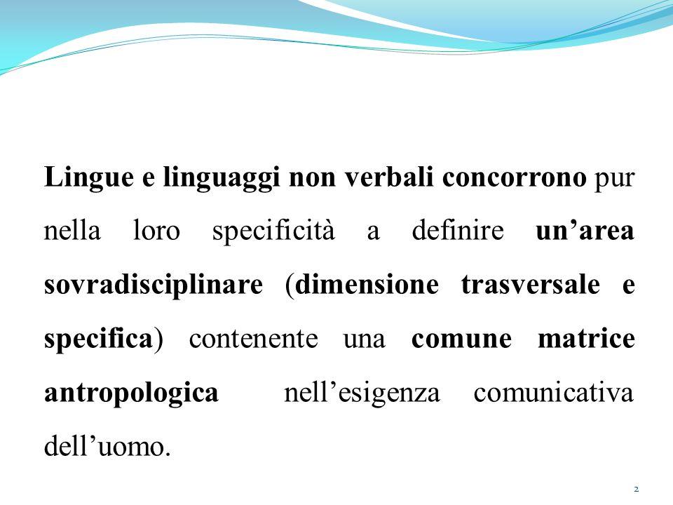 Lingue e linguaggi non verbali concorrono pur nella loro specificità a definire un'area sovradisciplinare (dimensione trasversale e specifica) contenente una comune matrice antropologica nell'esigenza comunicativa dell'uomo.