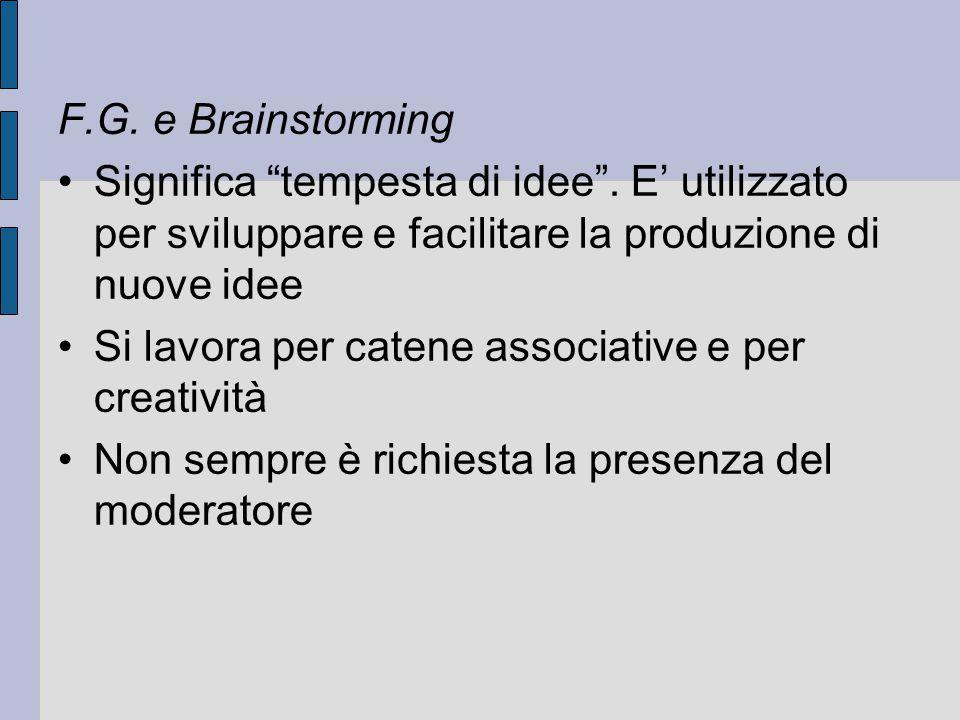 F.G. e Brainstorming Significa tempesta di idee . E' utilizzato per sviluppare e facilitare la produzione di nuove idee.