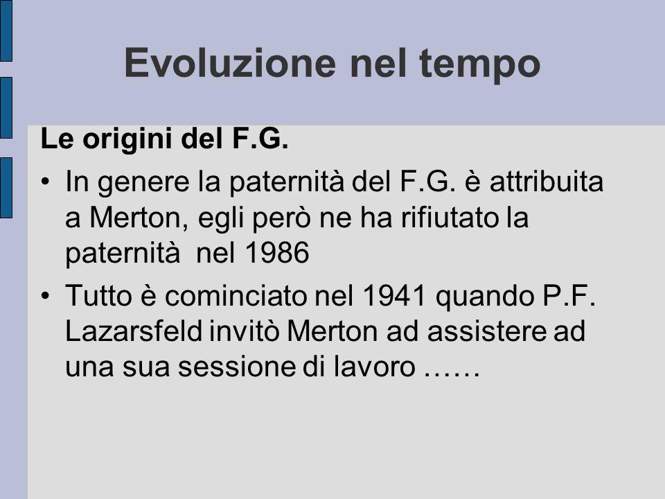 Evoluzione nel tempo Le origini del F.G.