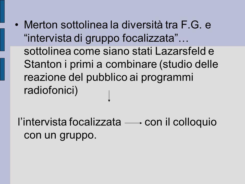 Merton sottolinea la diversità tra F. G