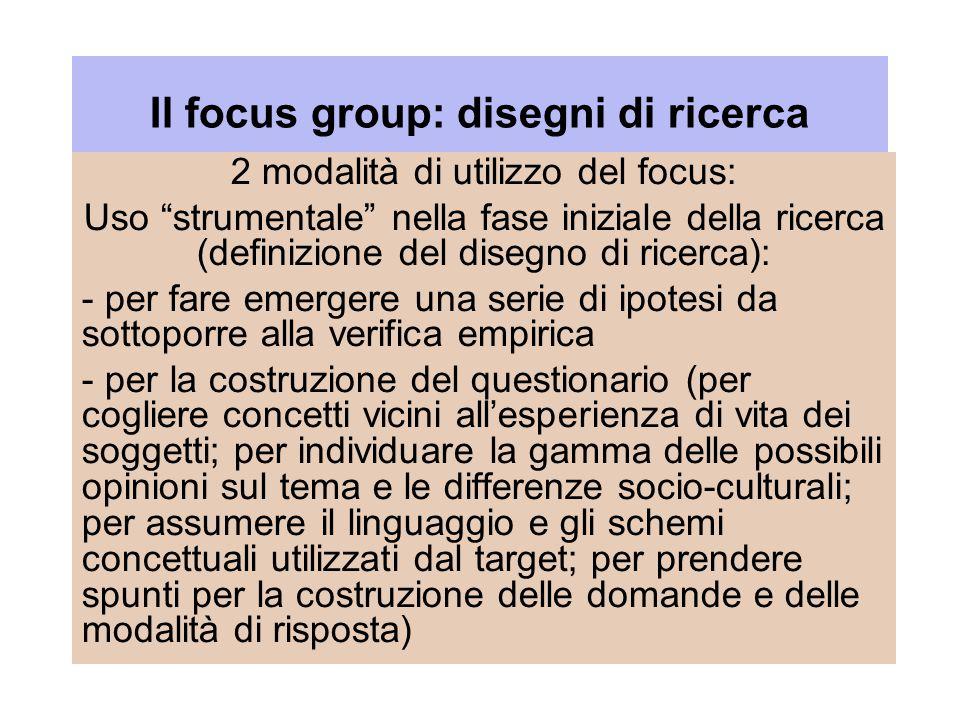 Il focus group: disegni di ricerca