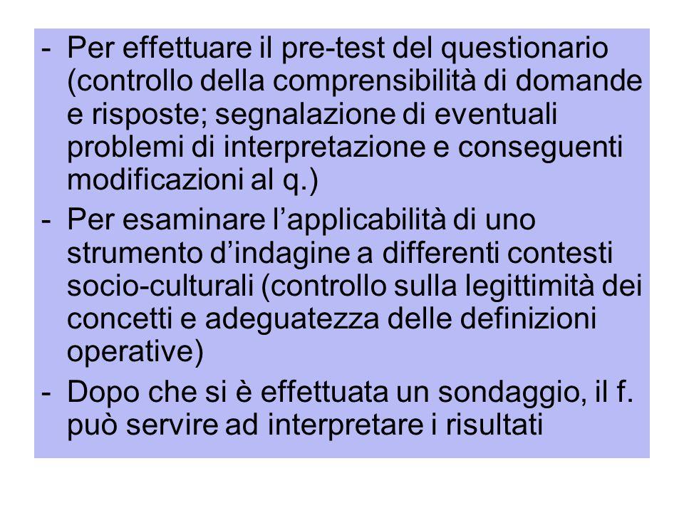 Per effettuare il pre-test del questionario (controllo della comprensibilità di domande e risposte; segnalazione di eventuali problemi di interpretazione e conseguenti modificazioni al q.)