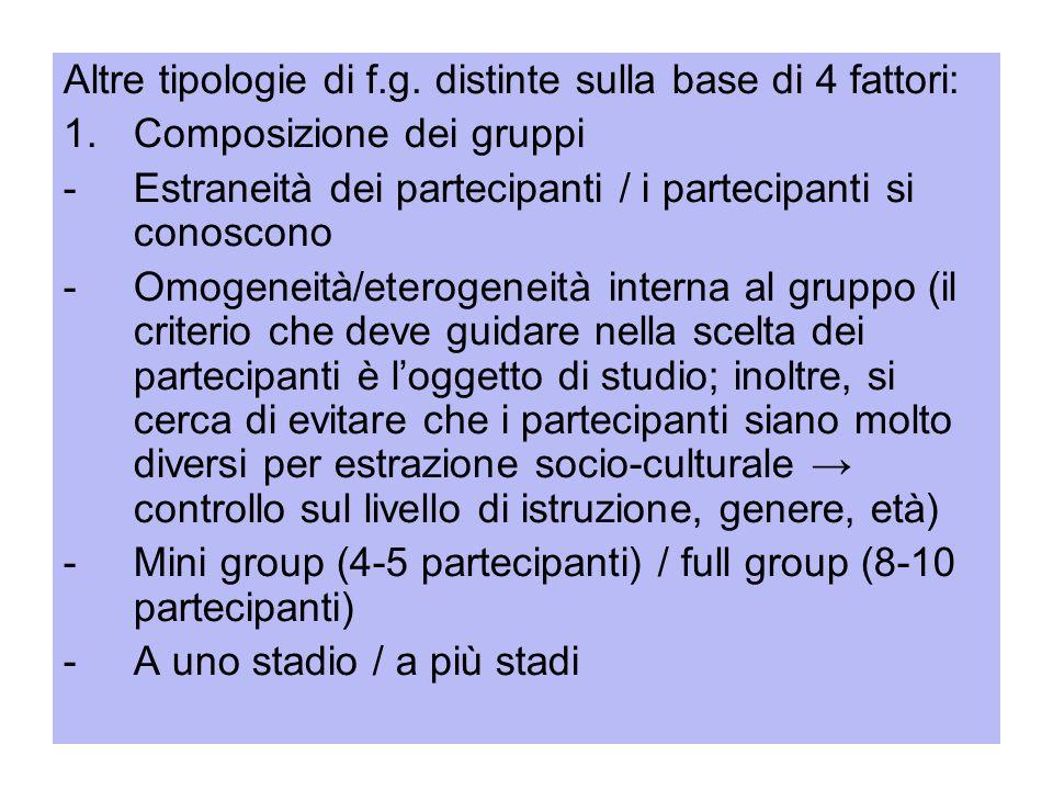 Altre tipologie di f.g. distinte sulla base di 4 fattori: