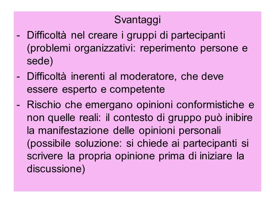 Svantaggi Difficoltà nel creare i gruppi di partecipanti (problemi organizzativi: reperimento persone e sede)