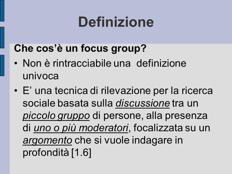 Definizione Che cos'è un focus group