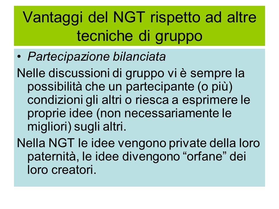 Vantaggi del NGT rispetto ad altre tecniche di gruppo