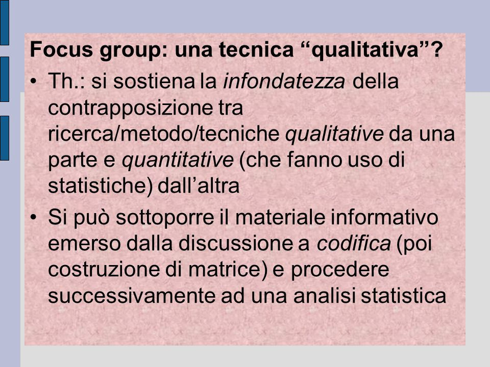 Focus group: una tecnica qualitativa