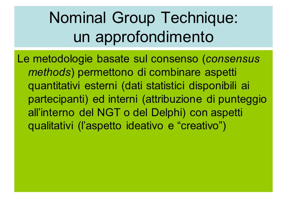 Nominal Group Technique: un approfondimento