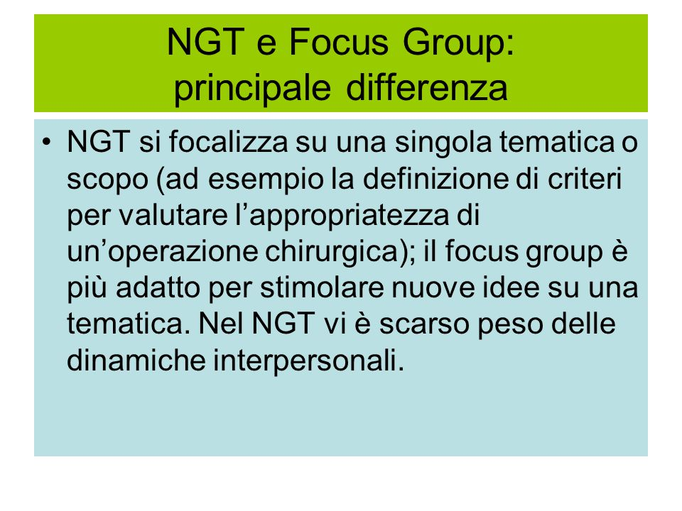NGT e Focus Group: principale differenza