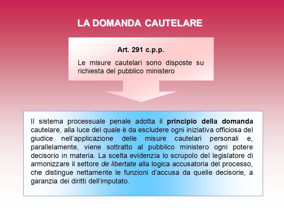 LA DOMANDA CAUTELARE Art. 291 c.p.p.
