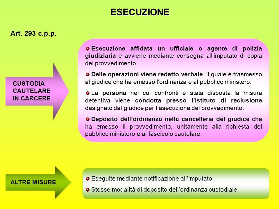 ESECUZIONE Art. 293 c.p.p.