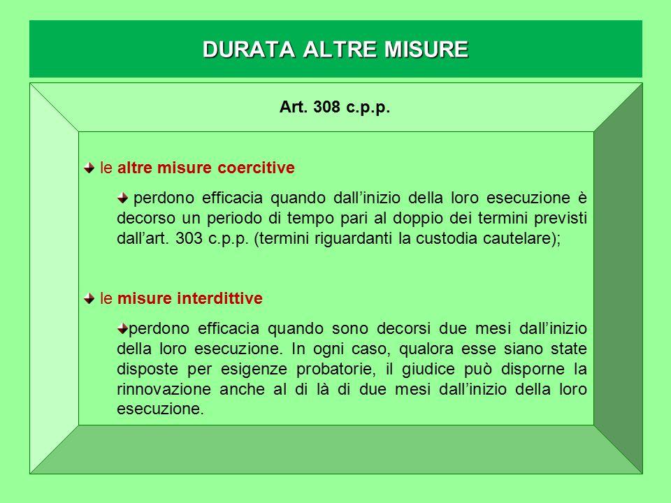 DURATA ALTRE MISURE Art. 308 c.p.p. le altre misure coercitive