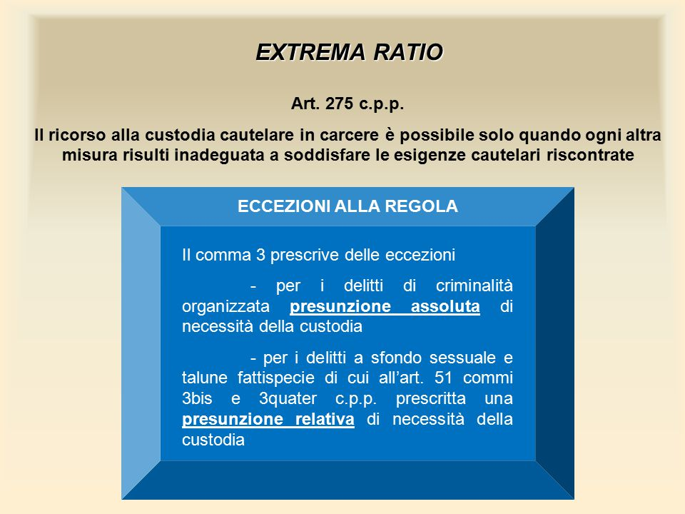EXTREMA RATIO Art. 275 c.p.p.