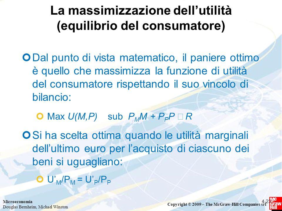 La massimizzazione dell'utilità (equilibrio del consumatore)