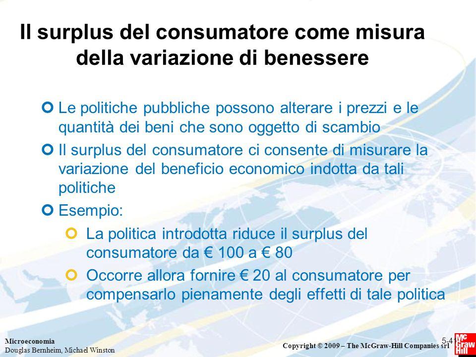 Il surplus del consumatore come misura della variazione di benessere