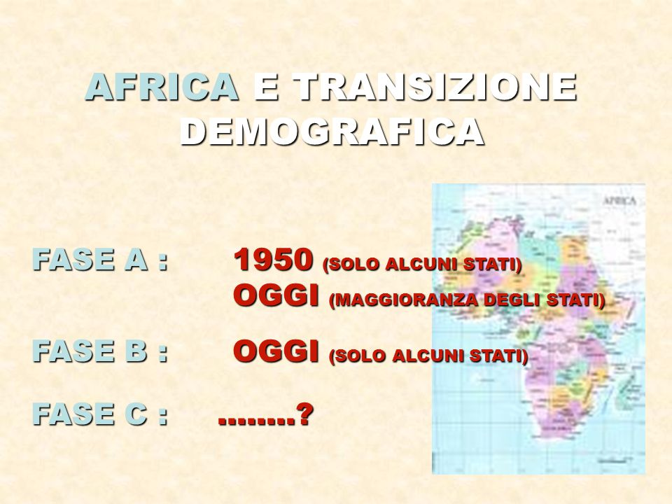 AFRICA E TRANSIZIONE DEMOGRAFICA
