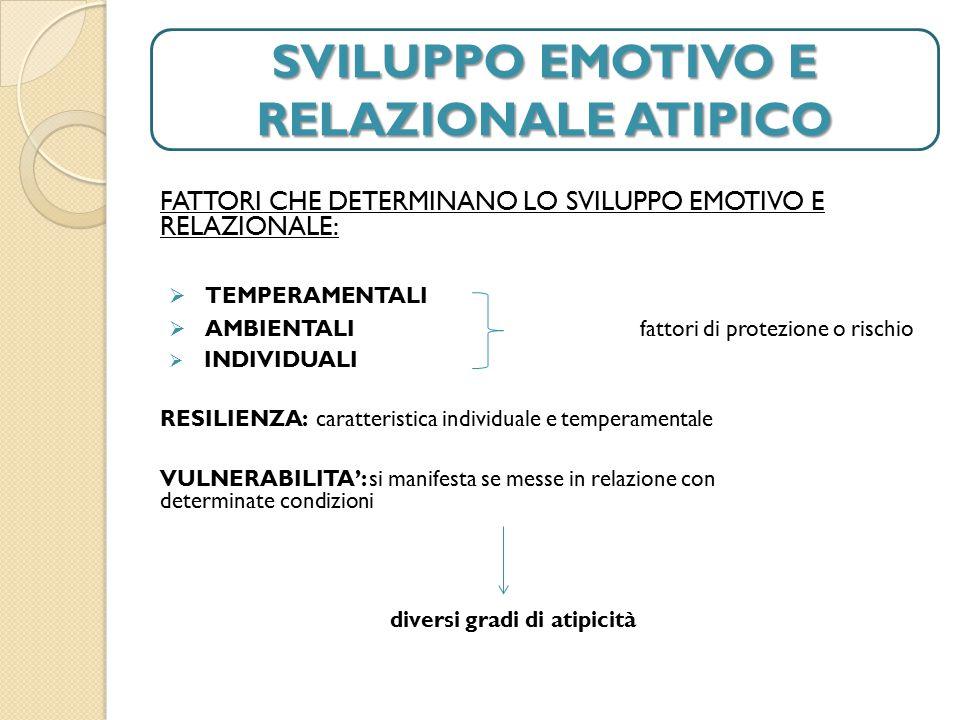 SVILUPPO EMOTIVO E RELAZIONALE ATIPICO