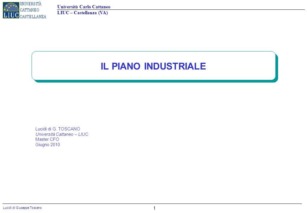 IL PIANO INDUSTRIALE Lucidi di G. TOSCANO Università Cattaneo – LIUC