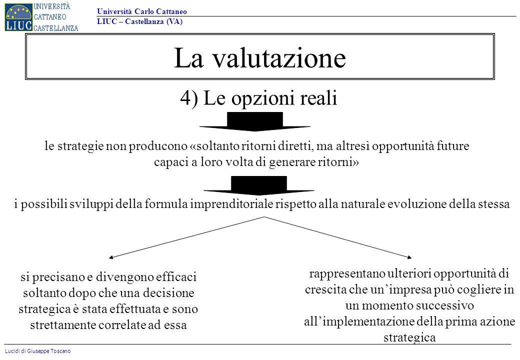 La valutazione 4) Le opzioni reali