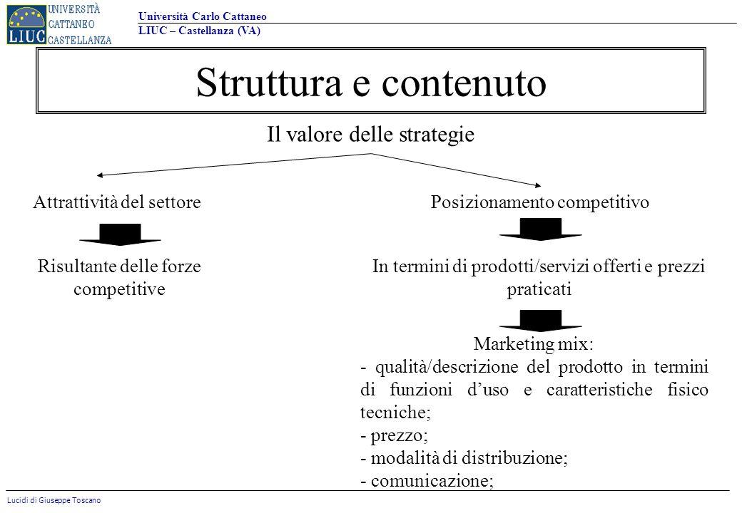 Struttura e contenuto Il valore delle strategie