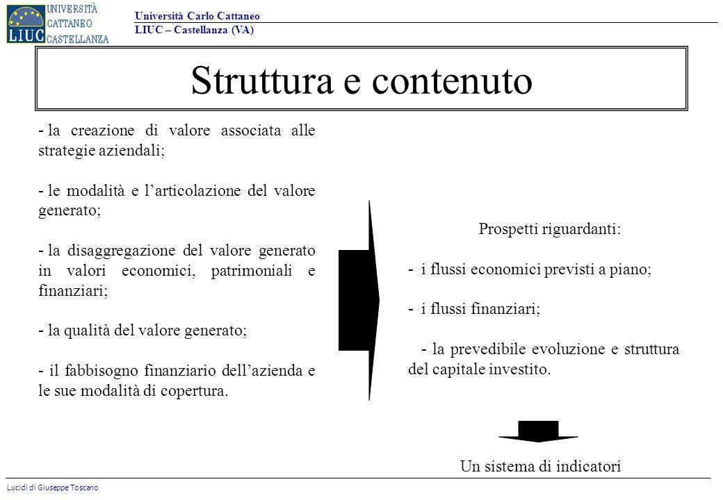 Struttura e contenuto la creazione di valore associata alle strategie aziendali; le modalità e l'articolazione del valore generato;
