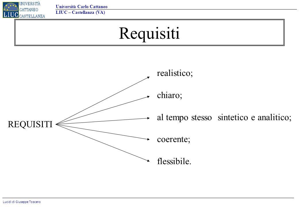 Requisiti realistico; chiaro; al tempo stesso sintetico e analitico;