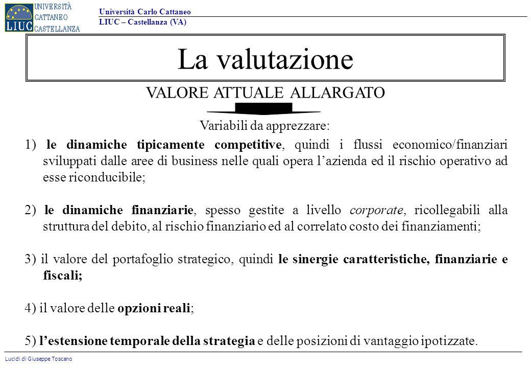 La valutazione VALORE ATTUALE ALLARGATO Variabili da apprezzare: