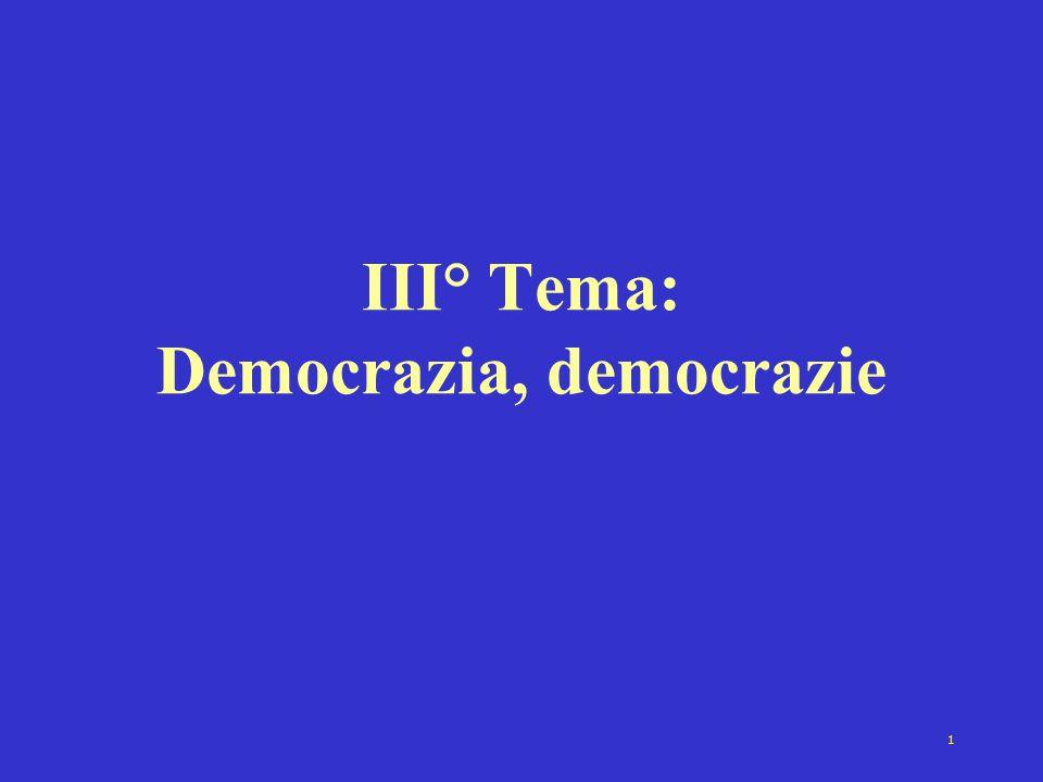 III° Tema: Democrazia, democrazie