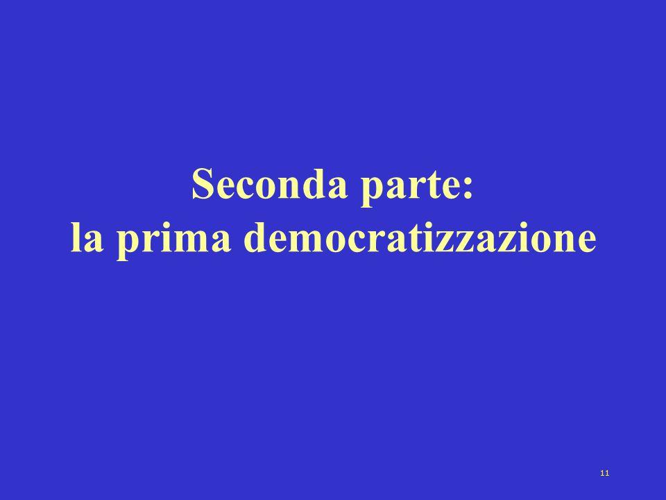 Seconda parte: la prima democratizzazione