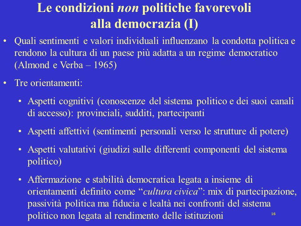 Le condizioni non politiche favorevoli