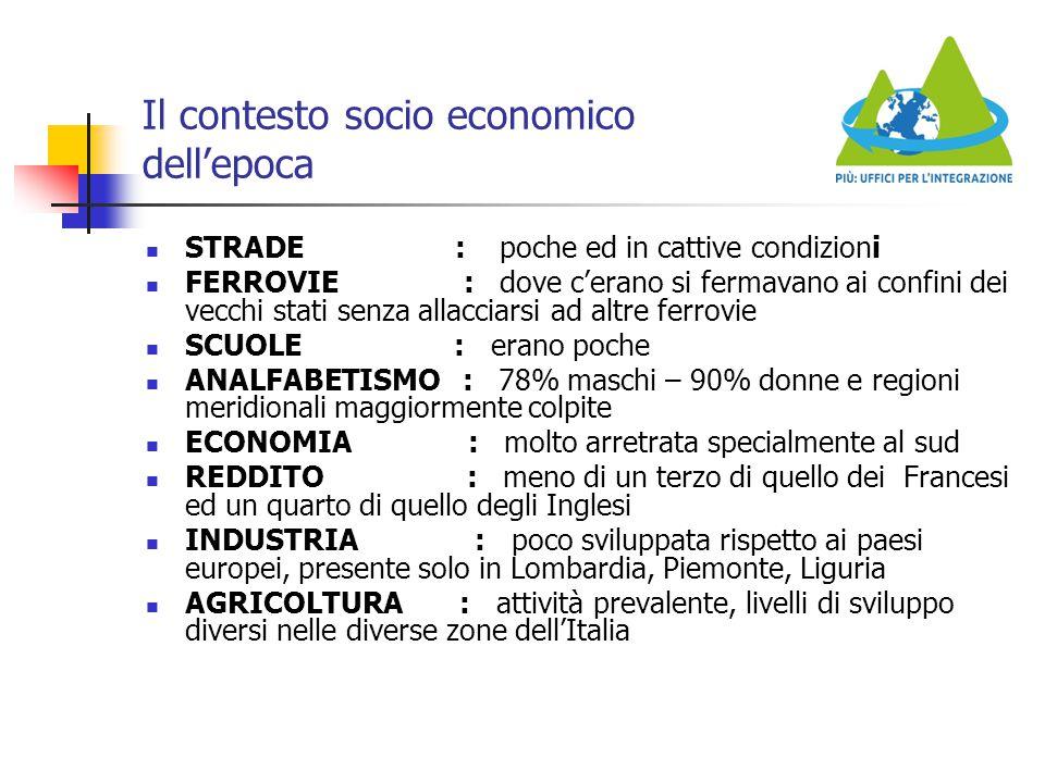 Il contesto socio economico dell'epoca