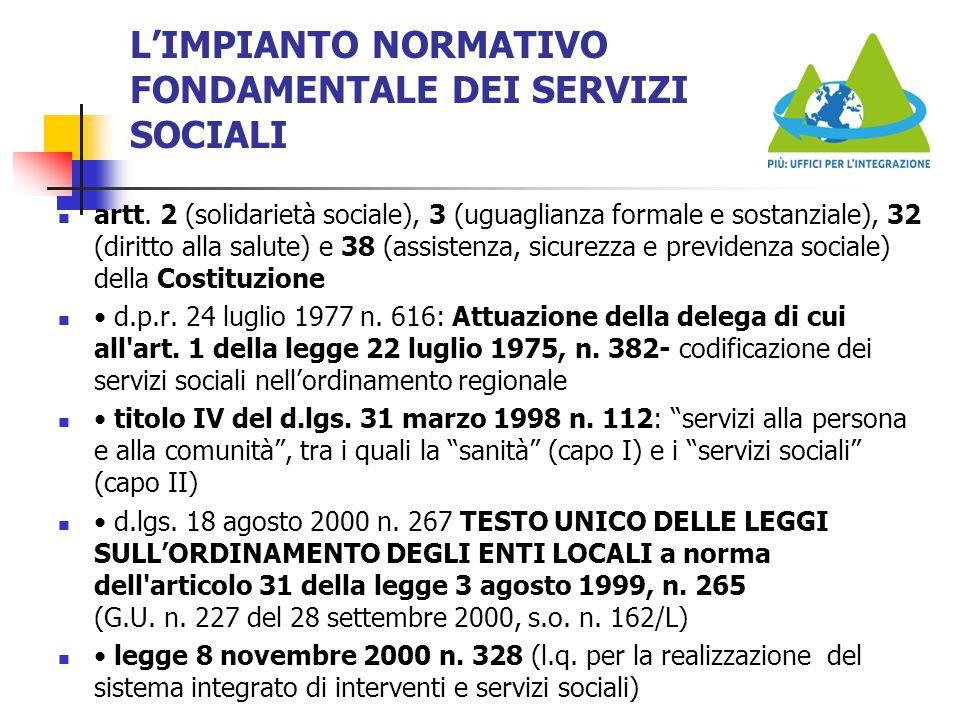 L'IMPIANTO NORMATIVO FONDAMENTALE DEI SERVIZI SOCIALI