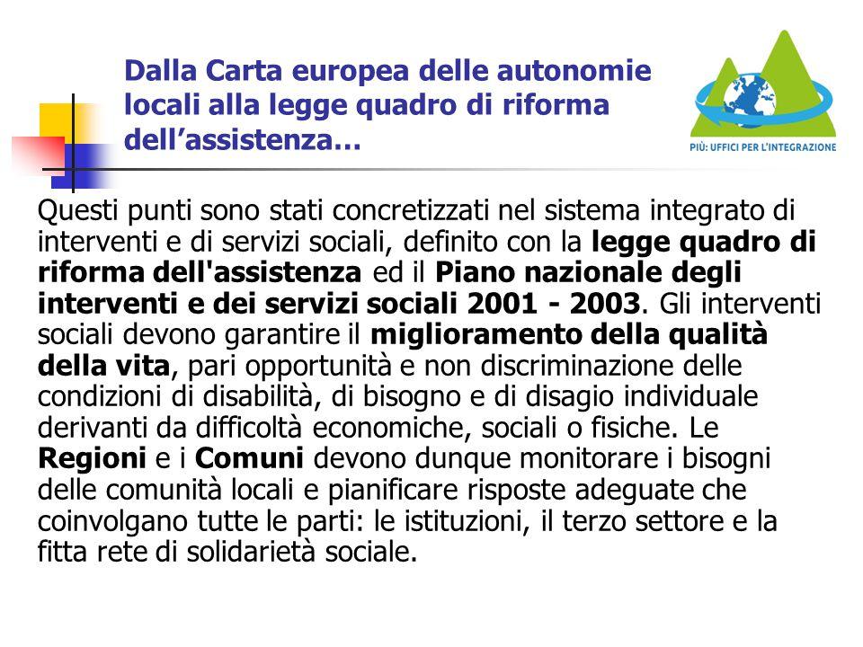 Dalla Carta europea delle autonomie locali alla legge quadro di riforma dell'assistenza…