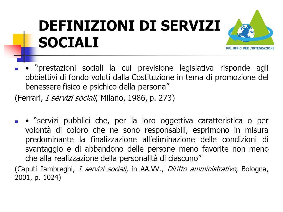 DEFINIZIONI DI SERVIZI SOCIALI