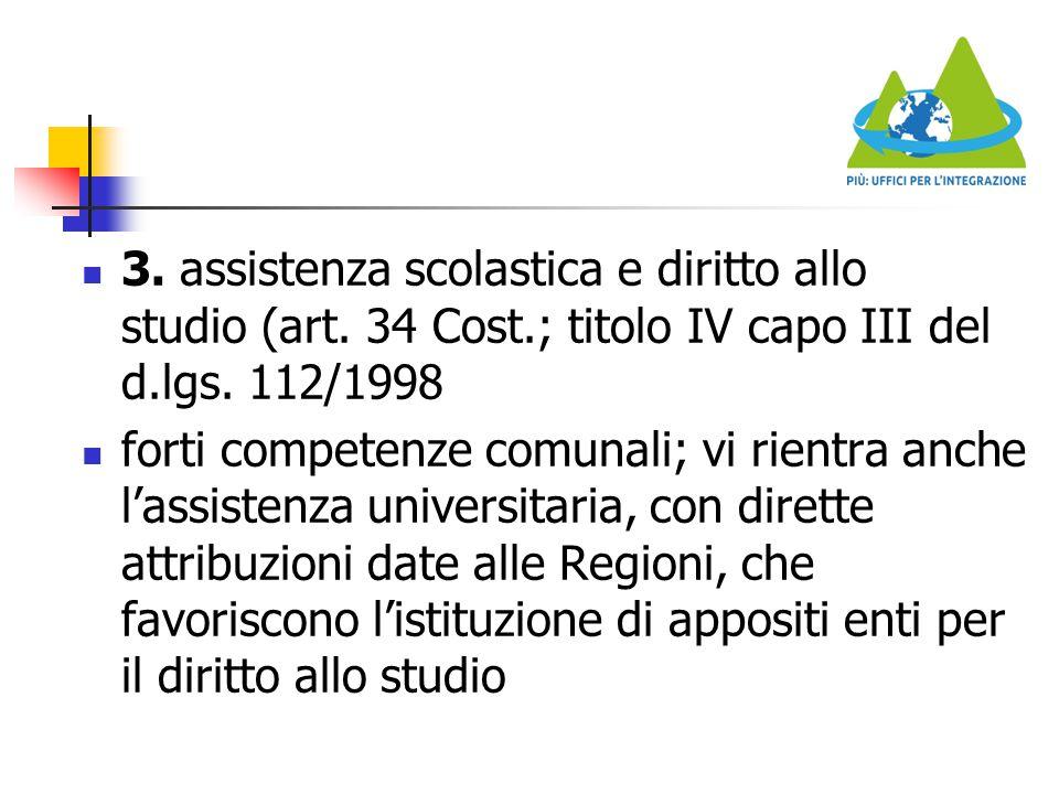 3. assistenza scolastica e diritto allo studio (art. 34 Cost