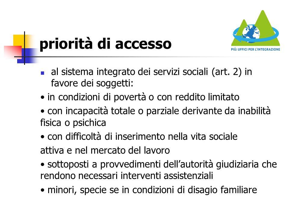 priorità di accesso al sistema integrato dei servizi sociali (art. 2) in favore dei soggetti: • in condizioni di povertà o con reddito limitato.