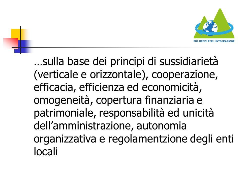 …sulla base dei principi di sussidiarietà (verticale e orizzontale), cooperazione, efficacia, efficienza ed economicità, omogeneità, copertura finanziaria e patrimoniale, responsabilità ed unicità dell'amministrazione, autonomia organizzativa e regolamentzione degli enti locali