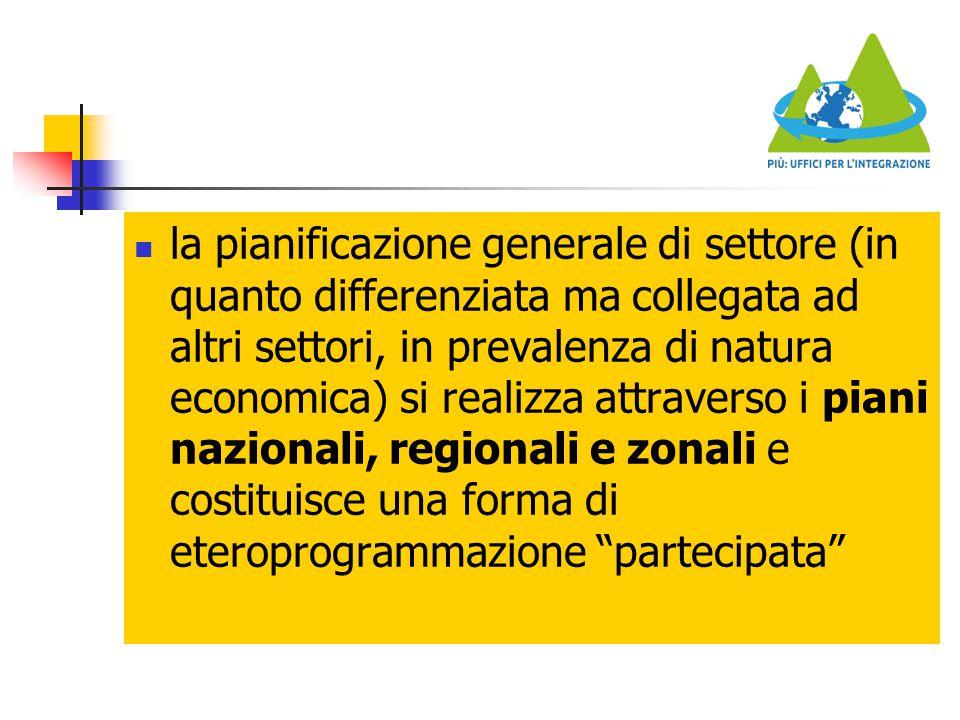 la pianificazione generale di settore (in quanto differenziata ma collegata ad altri settori, in prevalenza di natura economica) si realizza attraverso i piani nazionali, regionali e zonali e costituisce una forma di eteroprogrammazione partecipata