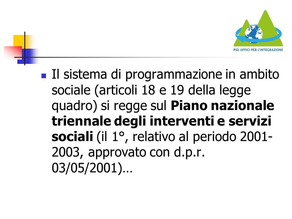 Il sistema di programmazione in ambito sociale (articoli 18 e 19 della legge quadro) si regge sul Piano nazionale triennale degli interventi e servizi sociali (il 1°, relativo al periodo 2001-2003, approvato con d.p.r.