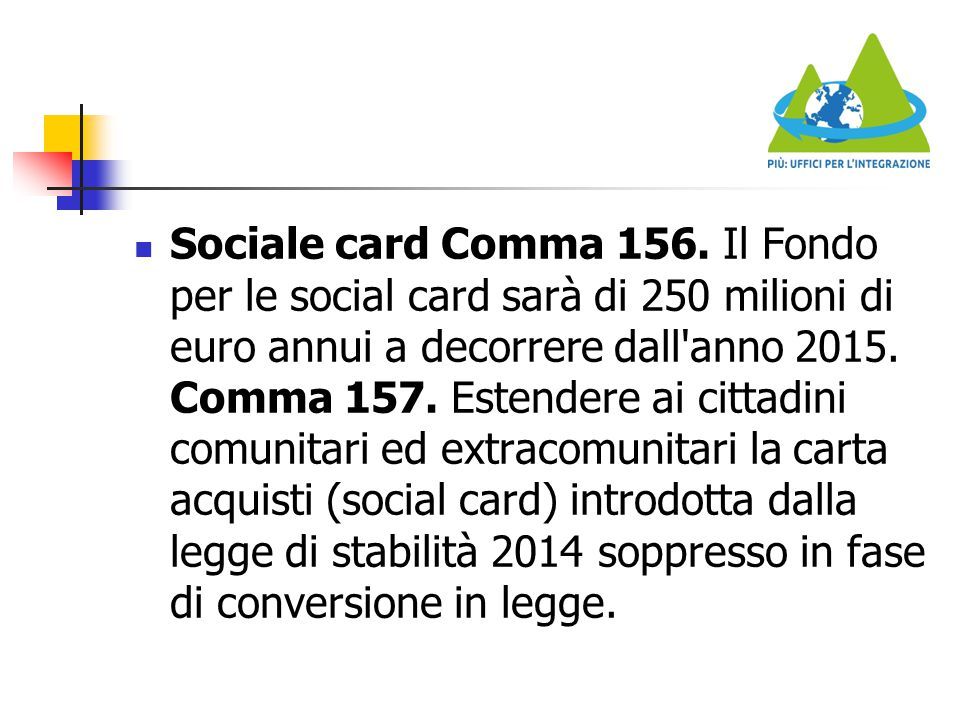 Sociale card Comma 156.