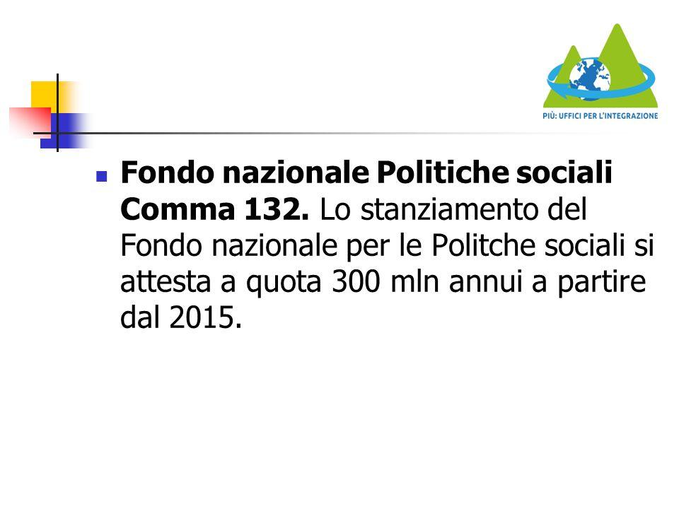 Fondo nazionale Politiche sociali Comma 132