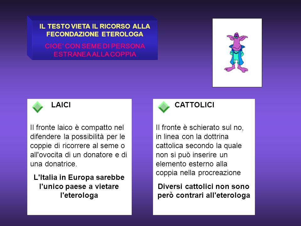 Diversi cattolici non sono però contrari all eterologa
