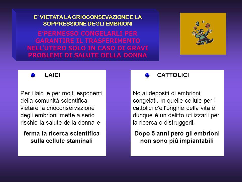 ferma la ricerca scientifica sulla cellule staminali CATTOLICI