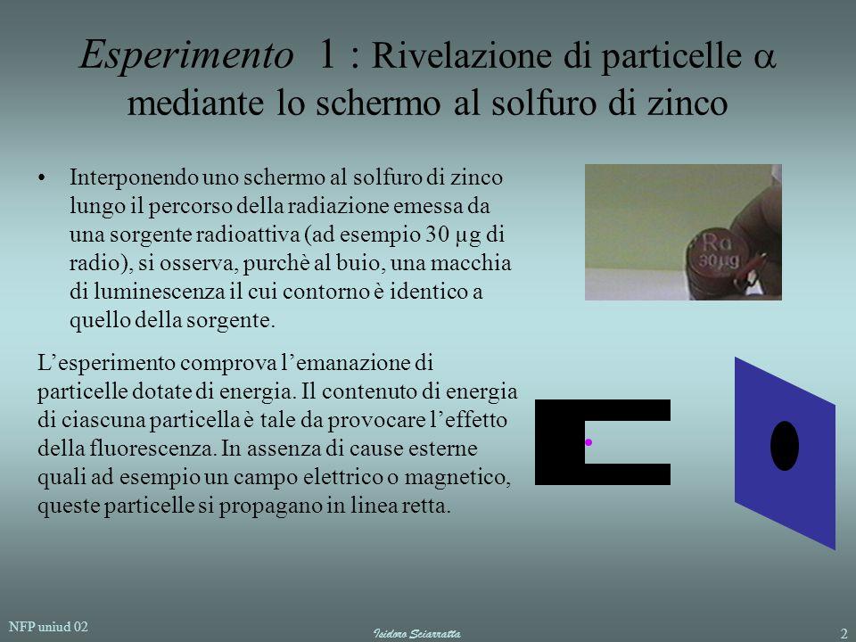 Esperimento 1 : Rivelazione di particelle  mediante lo schermo al solfuro di zinco