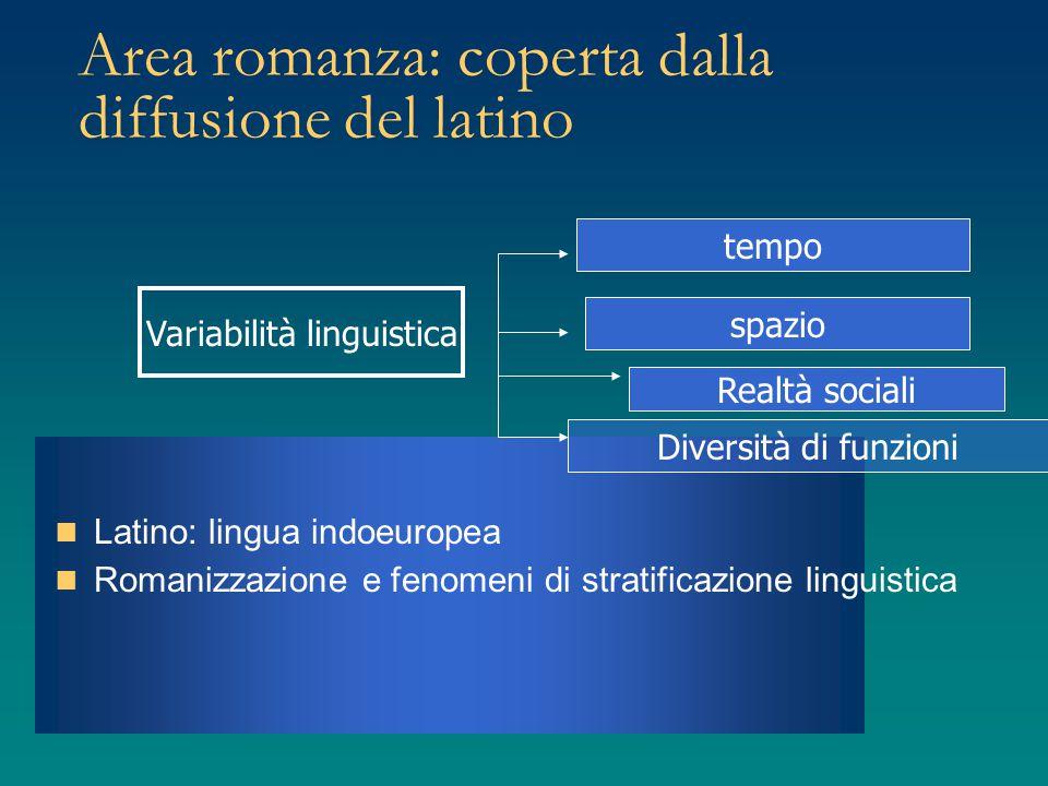 Area romanza: coperta dalla diffusione del latino